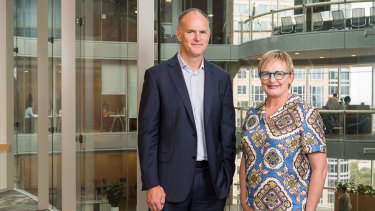 News Corp Australasia executive chairman Michael Miller with Premium Content Alliance chief executive Kim Portrate.