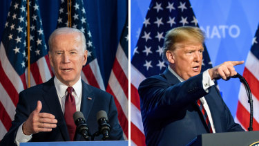 One week until election day: US Presidential candidates Joe Biden and Donald Trump.
