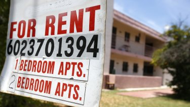 A rental sign is posted in front of an apartment complex in Phoenix, Arizona.