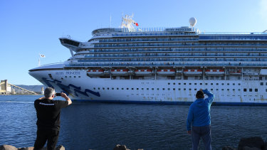 The Ruby Princess, with crew only onboard, docks at Port Kembla, Wollongong, on April 6.