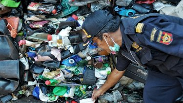 A container of Australian plastic waste impounded at the port of Batam, Indonesia.