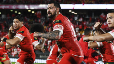 NRL stars Jason Taumalolo and Andrew Fifita in action for Tonga.