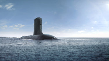 An artist's impression of the Royal Australian Navy's submarines under the now-defunct French deal with Naval Group.