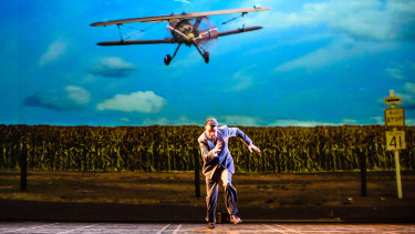Roger Thornhill (Matt Day) is dive-bombed and shot at by a crop duster in one of the show's thrilling action scenes.