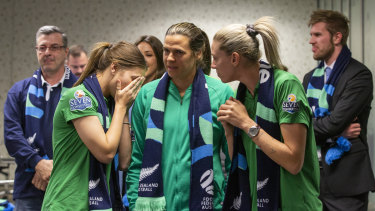 Steph Catley, Lydia Williams and Alanna Kennedy await the news they will contest the 2023 World Cup on home soil.