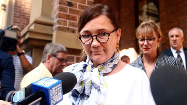 Widow Kimberley McGurk speaks outside of court on Monday.