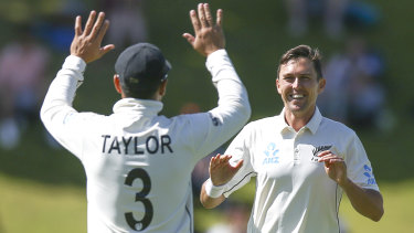 Trent Boult of New Zealand celebrates after taking the wicket of Ajinkya Rahane.