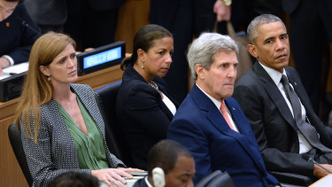 Samantha Power left, the then-US ambassador to the UN with Susan Rice, John Kerry and President Barack Obama in September, 2014.