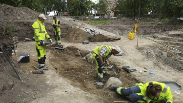 An archaeological dig in Gamla Uppsala, Sweden, where researchers found two rare boat burials from the Viking age.