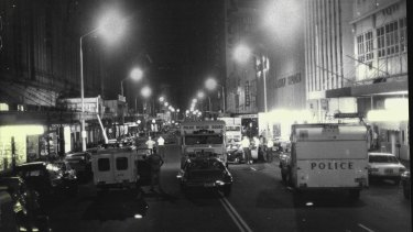 Police and rescue vehicles rushed to the Sydney Hilton after the bomb blast early on February 13, 1978.