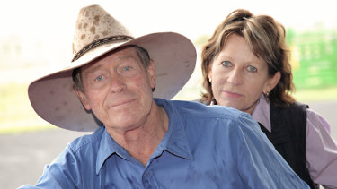 Farmers Frank and Lynn Ashman at their property near the Acland mine. Frank is a leading objector to the expansion.