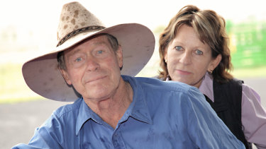 Farmers Frank and Lynn Ashman at their property near the Acland mine.