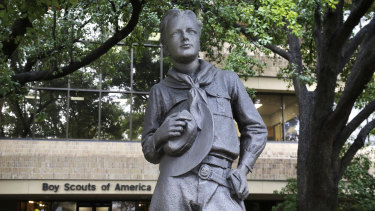 A Scout statue stands outside the Boys Scouts of America headquarters in Irving, Texas.