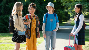 The Baby-Sitters Club: Shay Rudolph as Stacey McGill, Momona Tamada as Claudia Kishi, Sophie Grace as Kristy Thomas, and Malia Baker as Mary Anne Spier.