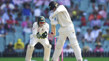 Tom Blundell plays as Australian captain and wicketkeeper Tim Paine looks on.