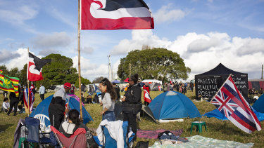 Demonstrators have been occupying Ihumatao around the clock to prevent any construction of homes.