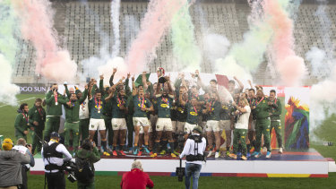 South Africa celebrate winning the series.