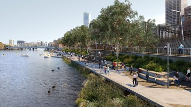 An artist's impression of how Greenline might look near Flinders Street Station.