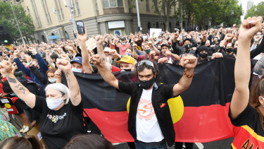 Protesters outside Victoria's Parliament House on Tuesday.