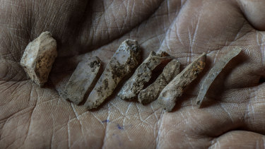 Small stones tools, called microliths from the Mesolithic era, found at excavation sites.
