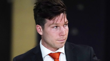 Toby Greene was in Melbourne for his appeal hearing.