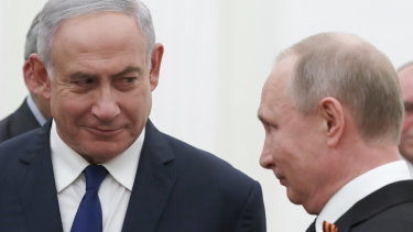 Israeli Prime Minister Benjamin Netanyahu, left,  meets Russian President Vladimir Putin in Moscow on Wednesday.
