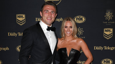 South Sydney Rabbitohs player Sam Burgess and wife Phoebe at the Dally M Awards last year.