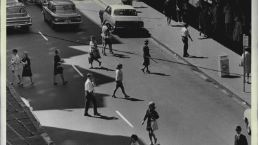 In the 1960s, jaywalkers would simply wait for a break in the traffic.