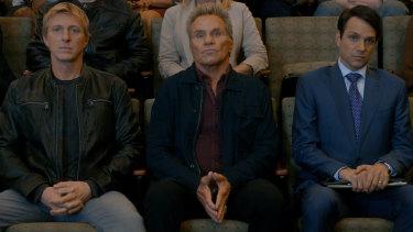 Johnny Lawrence (William Zabka), John Kreese (Martin Kove) and Daniel LaRusso (Ralph Macchio) spar again in season three of Cobra Kai.