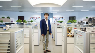 Hu Xijin, editor in chief of the Global Times, at the nationalist tabloid's newsroom in Beijing.