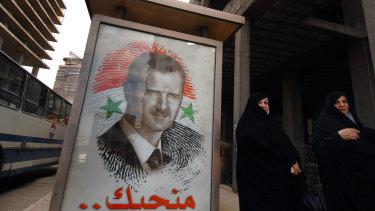 A poster of President Bashar Assad in Damascus, Syria