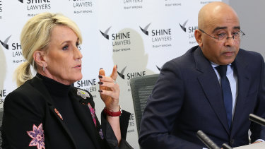 A Shine Lawyers team backed by high-profile environmental crusader Erin Brockovich is investigating PFAS contamination around RAAF Base Amberley. Ms Brockovich is pictured here with senior lawyer Roger Singh.