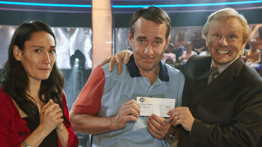 Sian Clifford, Matthew Macfadyen and Michael Sheen in Quiz.
