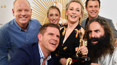 Gold Logie nominees (left to right) Tom Gleeson, Sam Mac, Eve Morey, Amanda Keller, Rodger Corser and Costa Georgiadis.