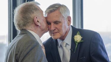 Michael Kirbymarried his partner Johan vanVloten on the 50thanniversary of when they first met on Monday.