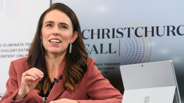 NZ Prime Minister Jacinda Ardern during the Christchurch Call international leaders' summit on Saturday.