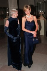 Princess Diana arrives for the 1996 gala with Liz Tilberis, then editor-in-chief of Harper's Bazaar and former editor of British Vogue.