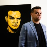 We've fought so hard to have an audience catch-up on our history: Actor Meyne Wyatt with his self-portrait that won the Packing Room Prize at  Archibald Prize in 2020.