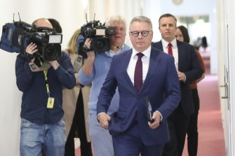 Labor MP Joel Fitzgibbon departs the  Parliament House press gallery after a media blitz on Monday.