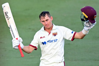 Marnus Labuschagne salutes the crowd after finishing the day on 160 not out.