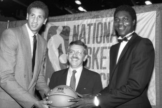 Stern led the NBA for 30 years. Here he is flanked by Akeem Olajuwon (left) and Sam Bowie (right) at the 1984 NBA draft.