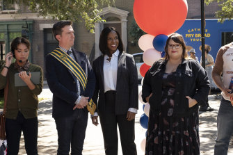 As Nathan Rutherford, Ed Helms (pictured with Dana L. Wilson and Jana Schmieding) has a serious case of ancestor worship in the culture-class comedy Rutherford Falls.