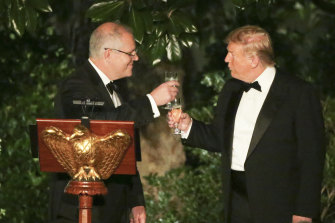 Prime Minister Scott Morrison and US President Donald Trump at a state dinner in the Rose Garden of the White House.