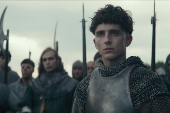 Timothee Chalamet, whose star is rapidly  rising, plays Hal in The King.