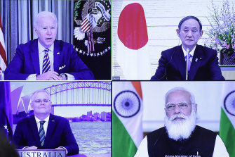US leader Joe Biden, Japan's Yoshihide Suga, Australia's Scott Morrison and India's Narendra Modi during a virtual Quad meeting hosted by Japan in March.