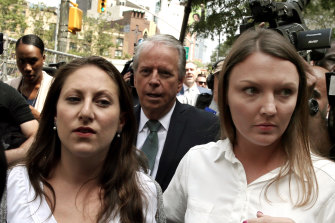 Michelle Licata, left, and Courtney Wild, two of many alleged victims of Jeffrey Epstein, in New York in July.
