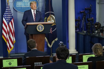 Then US president Donald Trump at one of his many press conferences last year. There were also many unofficial briefings behind the scenes.