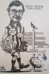 This cartoon summed up all the roles ACT city manager - and Collingwood fan - John Turner had to play.