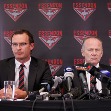 Essendon chief executive Xavier Campbell and chairman Lindsay Tanner