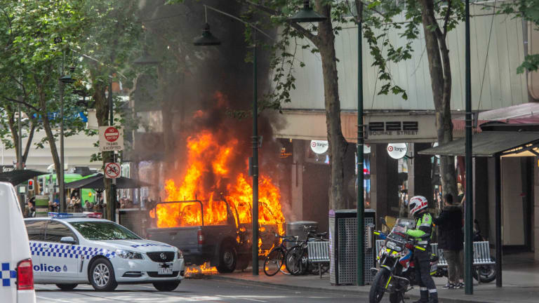 The car fire on Bourke Street in Melbourne